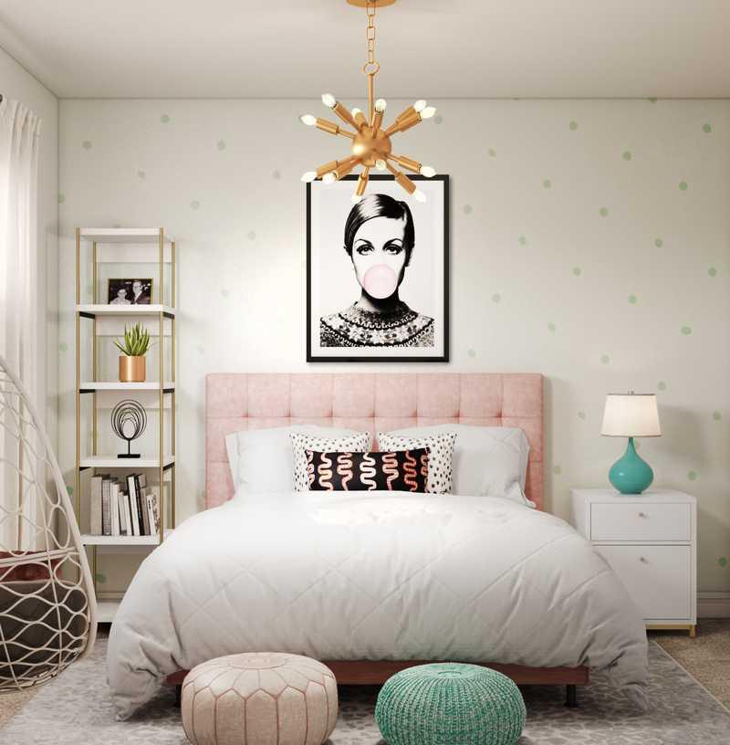 Glam, Preppy Bedroom Design by Havenly Interior Designer Kacey