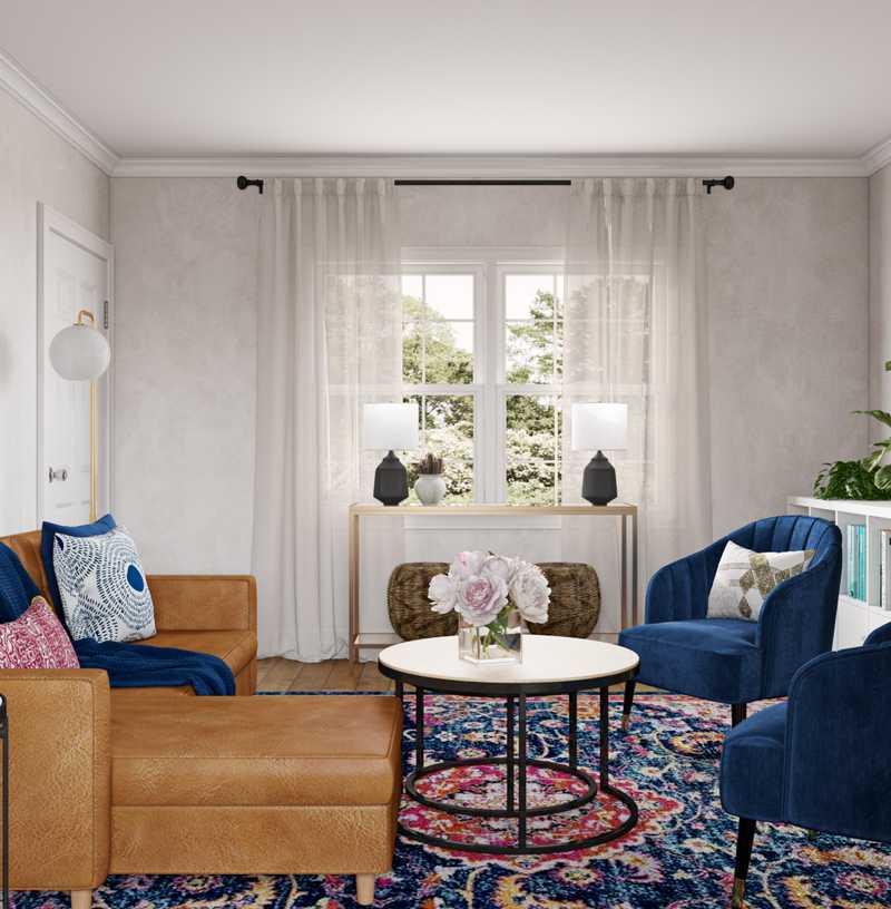 Modern, Eclectic, Glam Living Room Design by Havenly Interior Designer Kacey