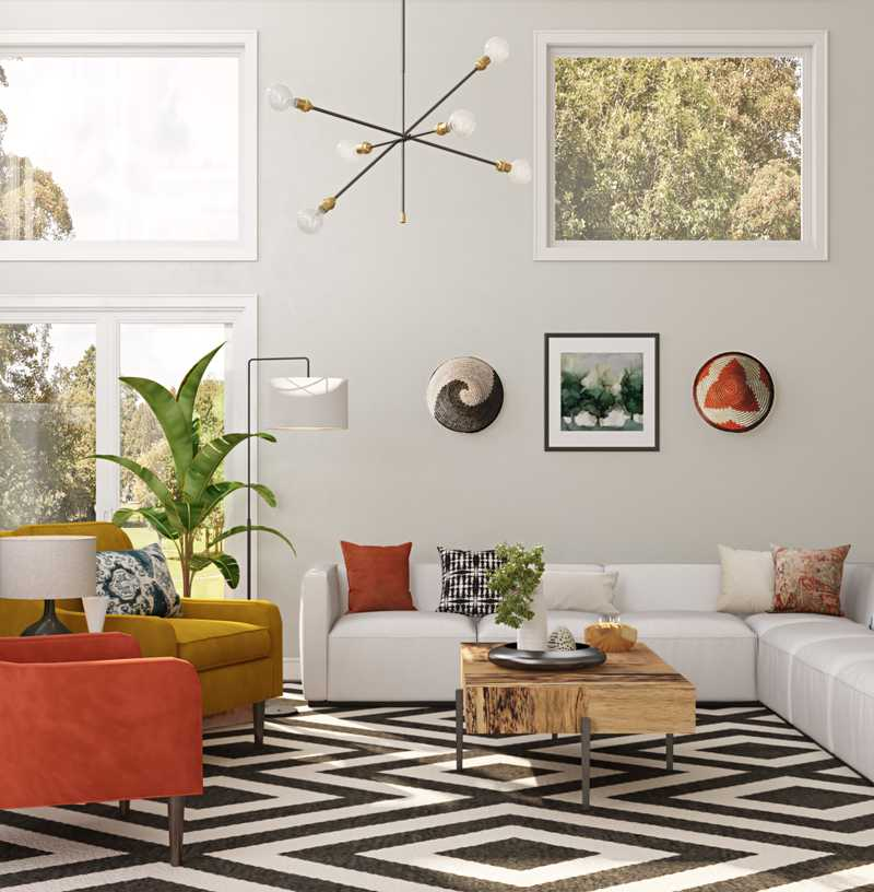 Modern, Eclectic, Bohemian, Glam, Midcentury Modern Living Room Design by Havenly Interior Designer Michela