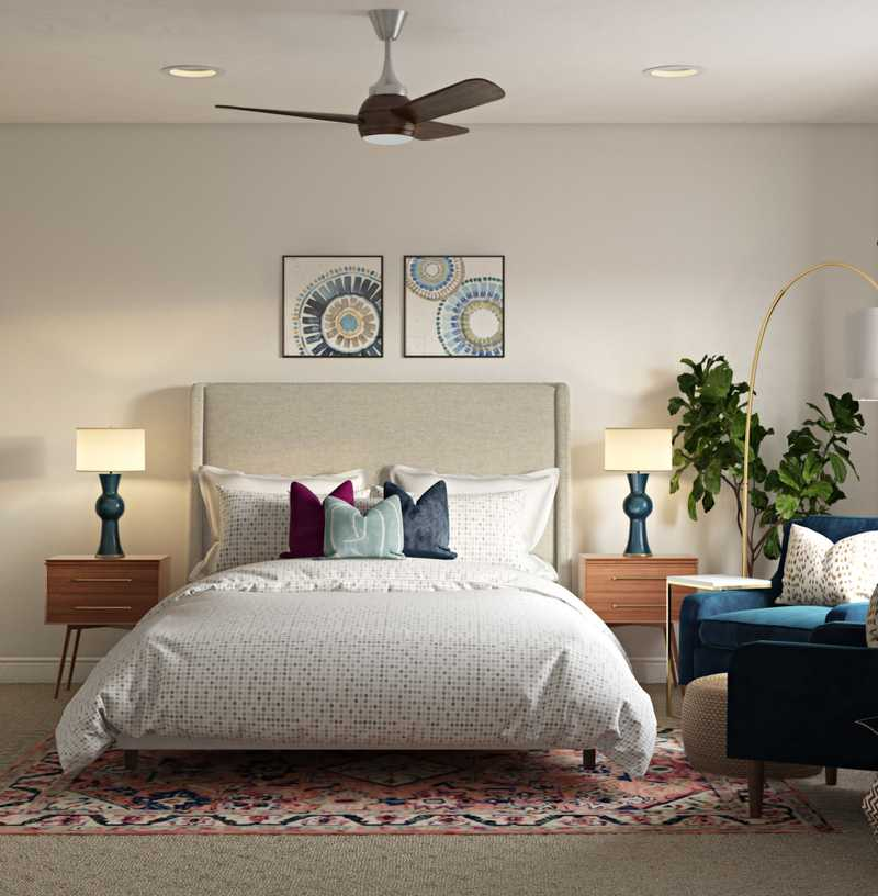 Bohemian, Coastal, Glam, Midcentury Modern Bedroom Design by Havenly Interior Designer Dani