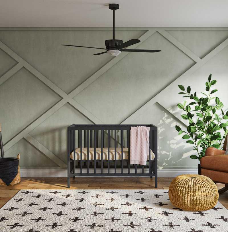 Bohemian, Midcentury Modern Nursery Design by Havenly Interior Designer Chanel