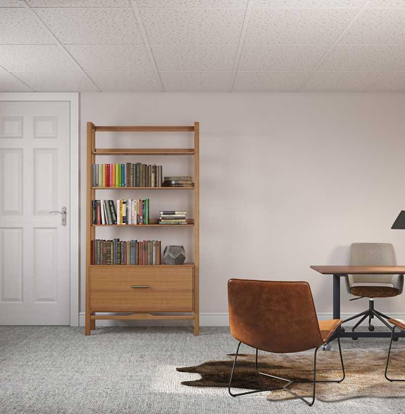 Transitional, Midcentury Modern Office Design by Havenly Interior Designer Amy