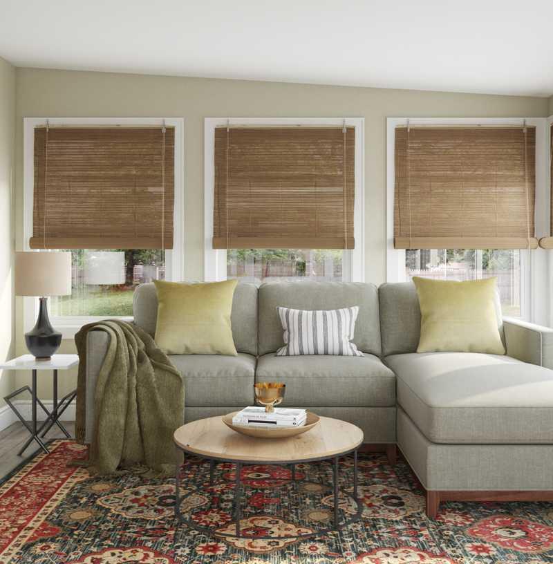 Contemporary, Eclectic, Industrial, Rustic Living Room Design by Havenly Interior Designer Victoria