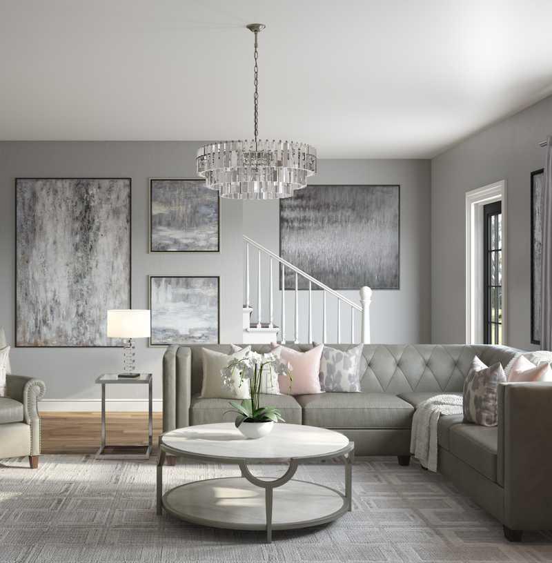 Classic, Glam, Transitional Living Room Design by Havenly Interior Designer Kacie