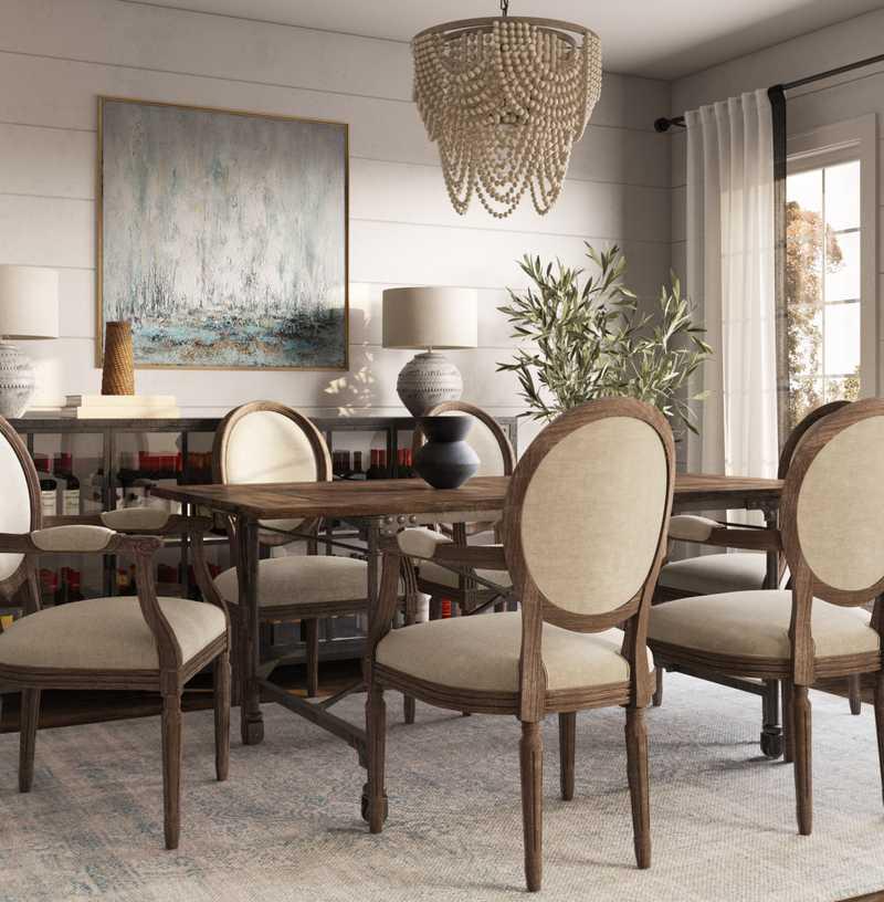 Bohemian, Coastal, Farmhouse Dining Room Design by Havenly Interior Designer Melissa