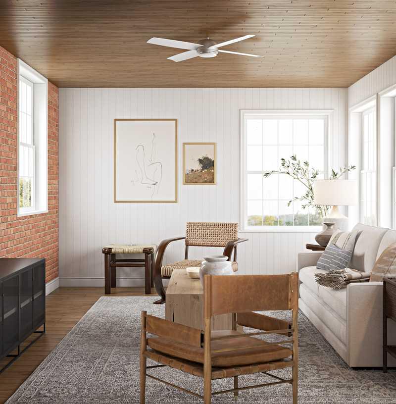 Bohemian, Midcentury Modern Living Room Design by Havenly Interior Designer Emilee