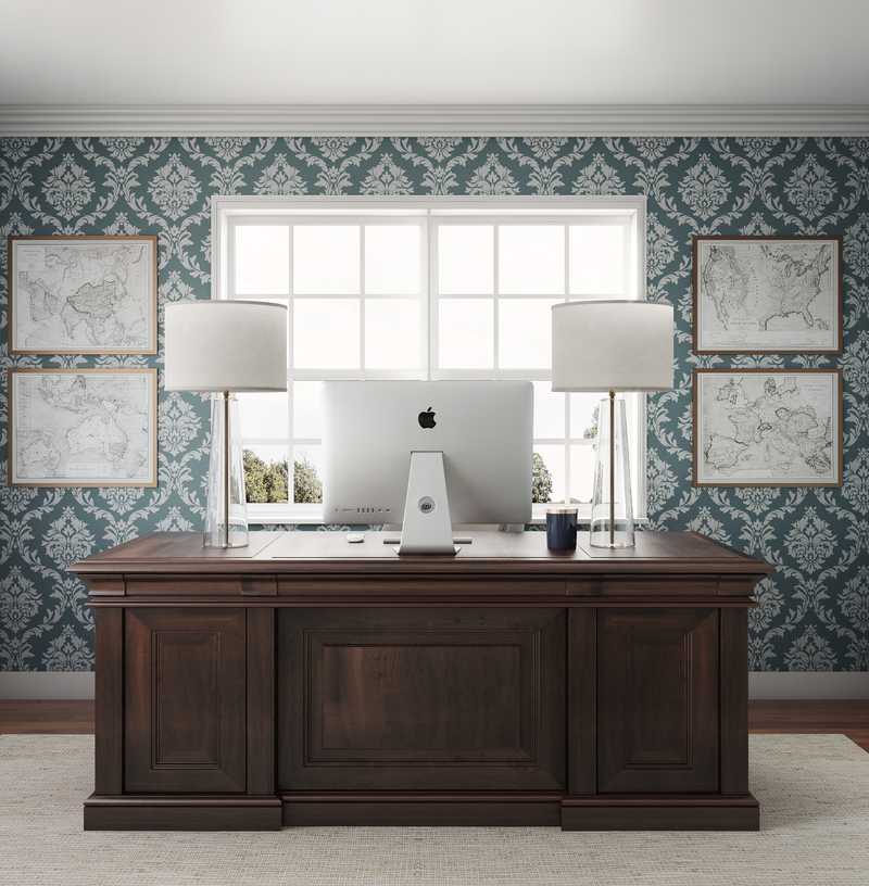 Modern, Glam, Traditional Office Design by Havenly Interior Designer Shannon