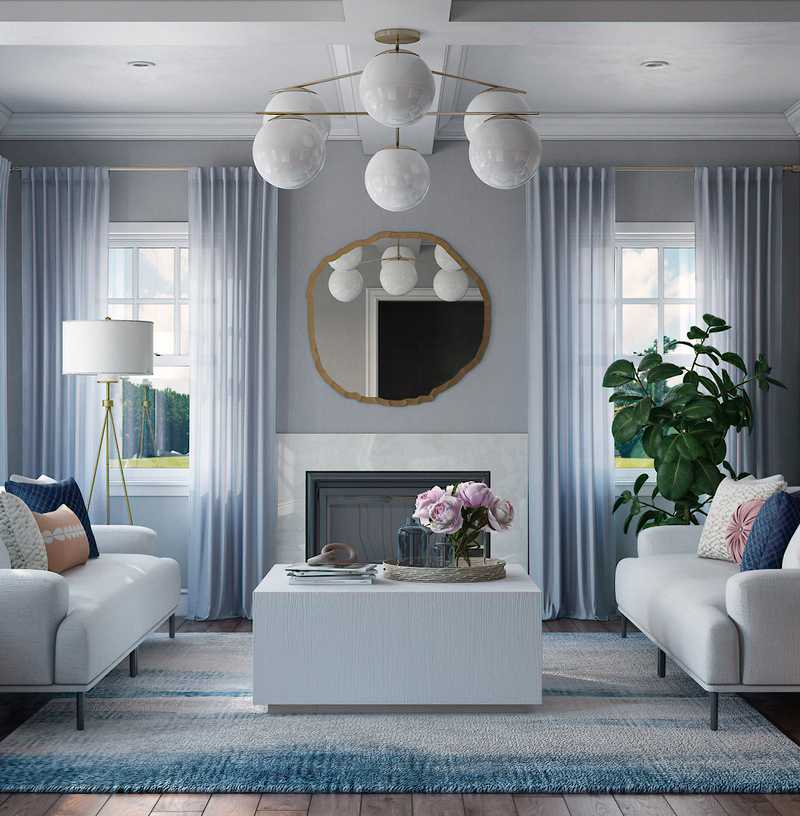 Contemporary, Glam, Minimal, Preppy Living Room Design by Havenly Interior Designer Fendy