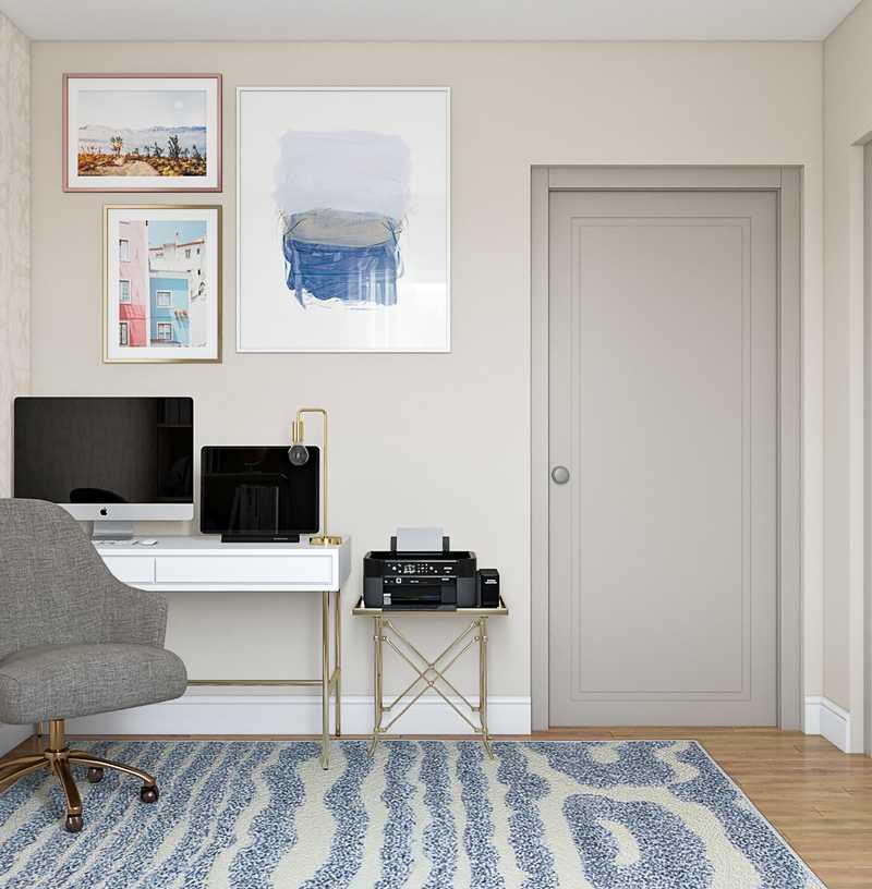 Glam, Preppy Office Design by Havenly Interior Designer Catrina