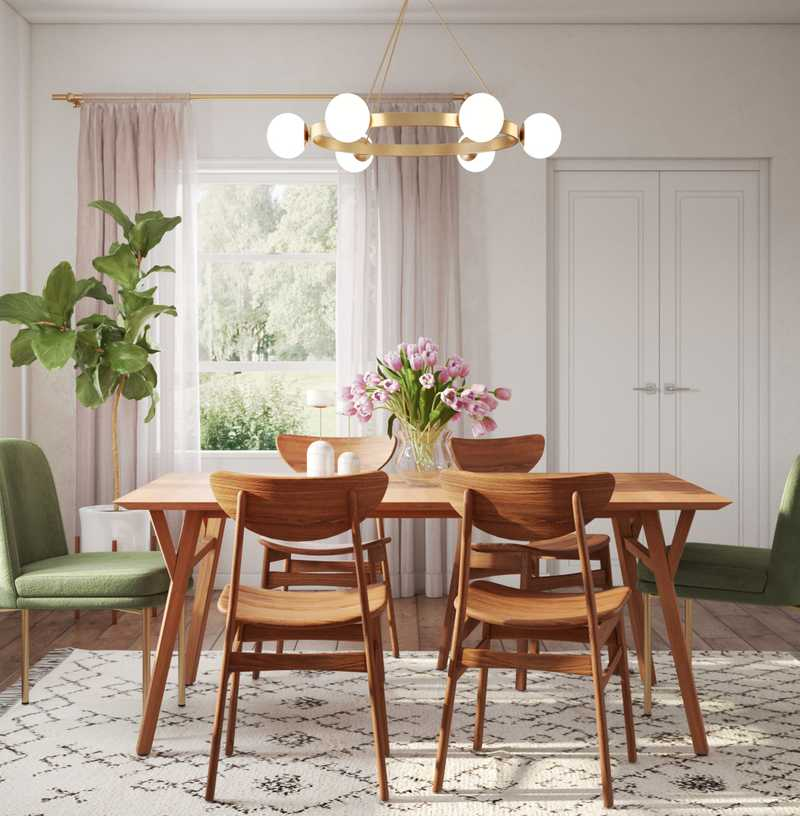 Bohemian, Midcentury Modern Dining Room Design by Havenly Interior Designer Janice