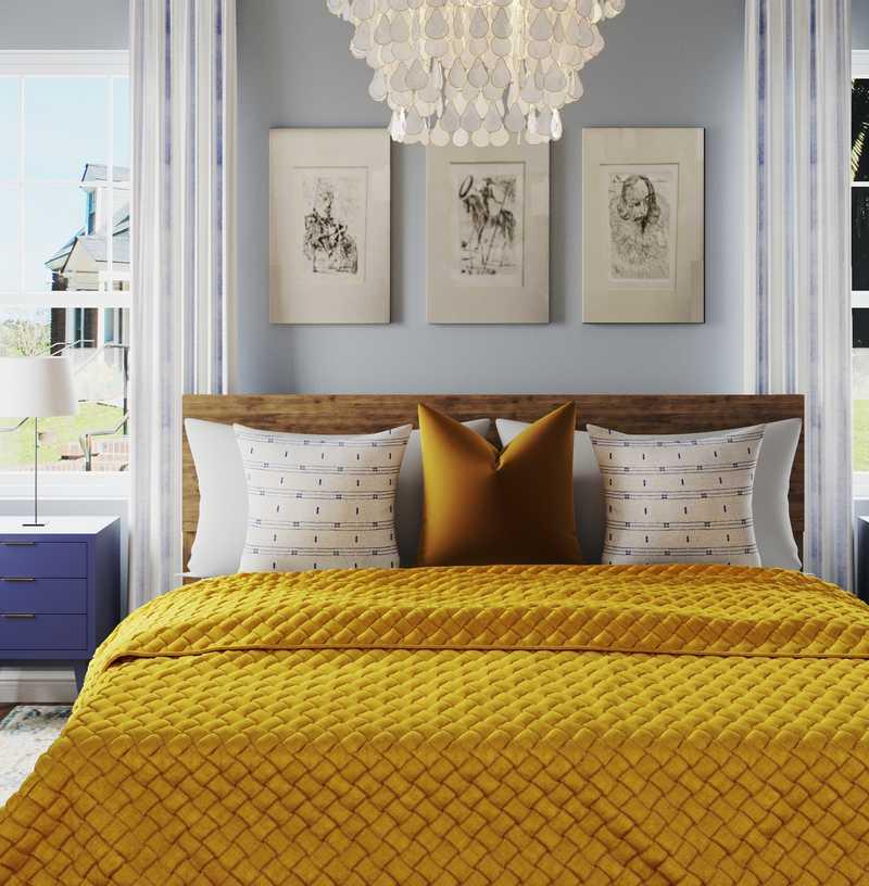 Bohemian, Midcentury Modern, Scandinavian Bedroom Design by Havenly Interior Designer Jessica