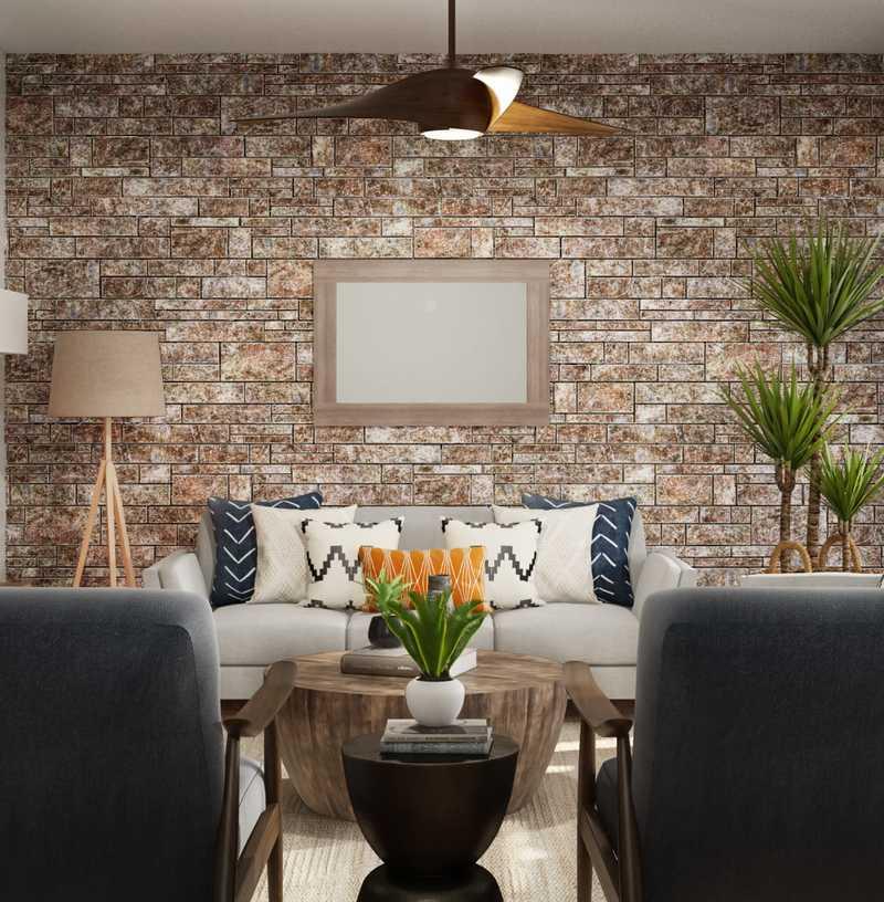 Coastal, Rustic Living Room Design by Havenly Interior Designer Moumita