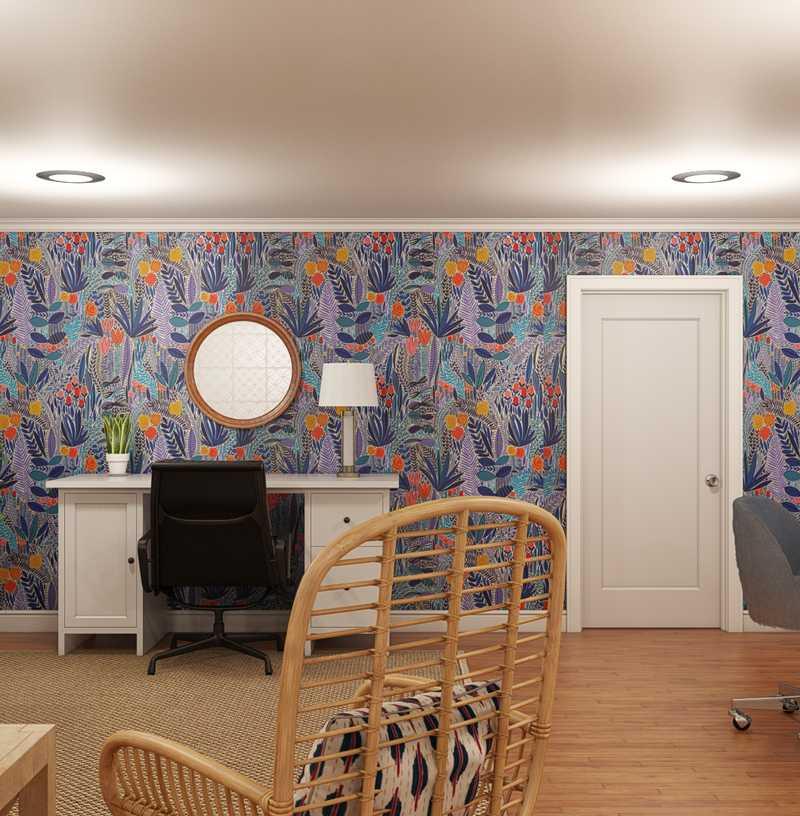 Coastal, Farmhouse, Transitional, Preppy Office Design by Havenly Interior Designer Susan