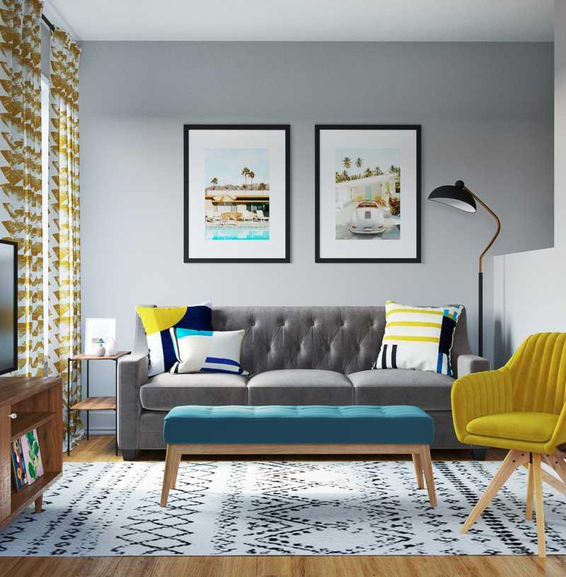 Eclectic, Bohemian, Global, Midcentury Modern Living Room Design by Havenly Interior Designer Natalie