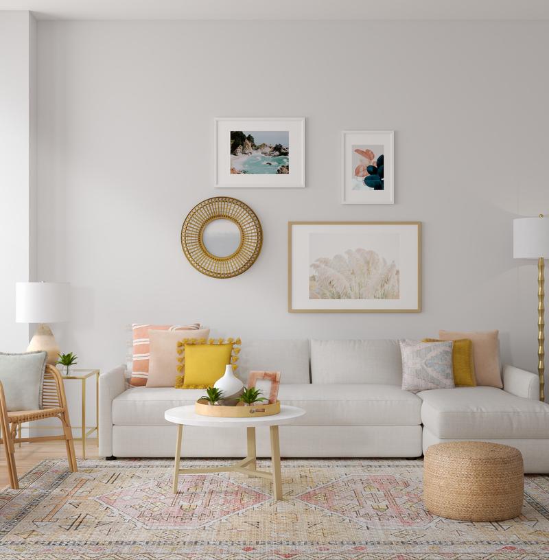 Bohemian, Midcentury Modern Living Room Design by Havenly Interior Designer Alexandra