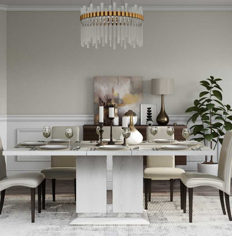 Glam, Transitional Dining Room Design by Havenly Interior Designer Vaishali