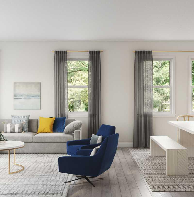 Contemporary, Glam, Midcentury Modern Living Room Design by Havenly Interior Designer Abril