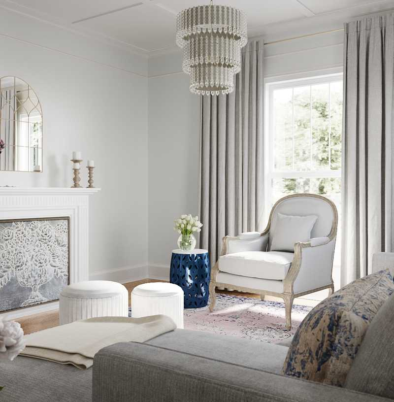 Classic, Glam, Traditional, Preppy Living Room Design by Havenly Interior Designer Natalie