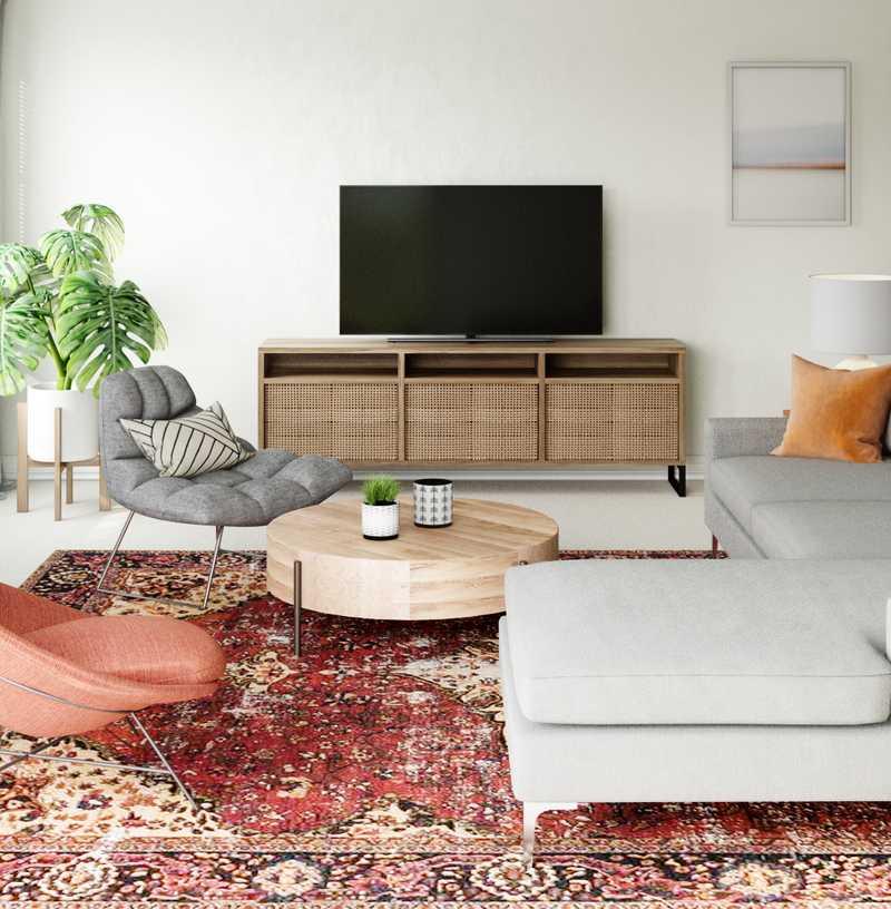 Modern, Eclectic, Bohemian, Rustic, Midcentury Modern, Minimal, Scandinavian Living Room Design by Havenly Interior Designer Jennifer