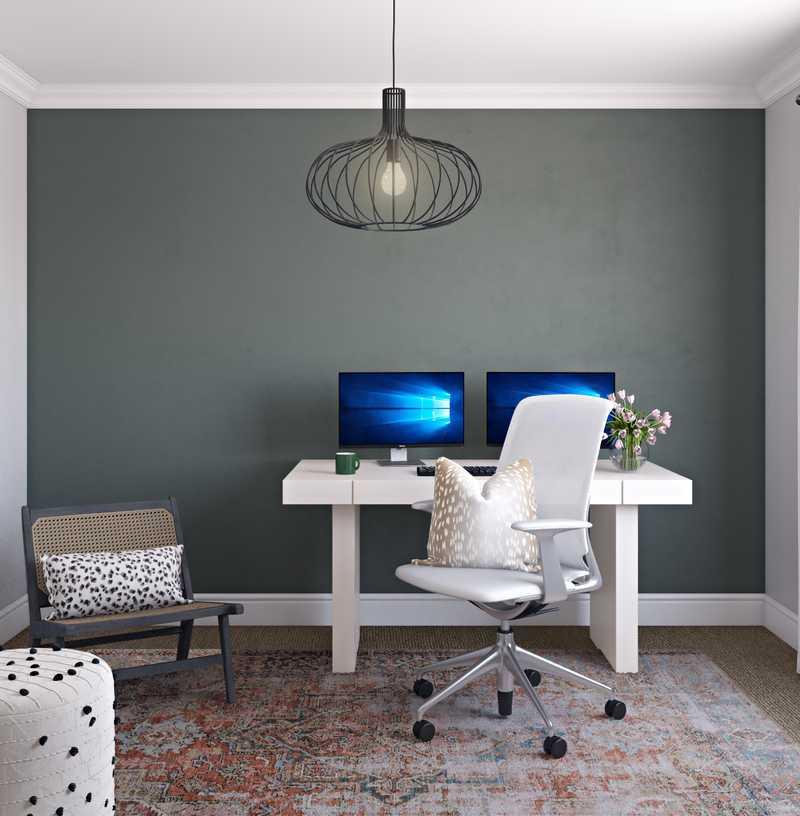 Bohemian, Glam, Farmhouse Office Design by Havenly Interior Designer Emilee