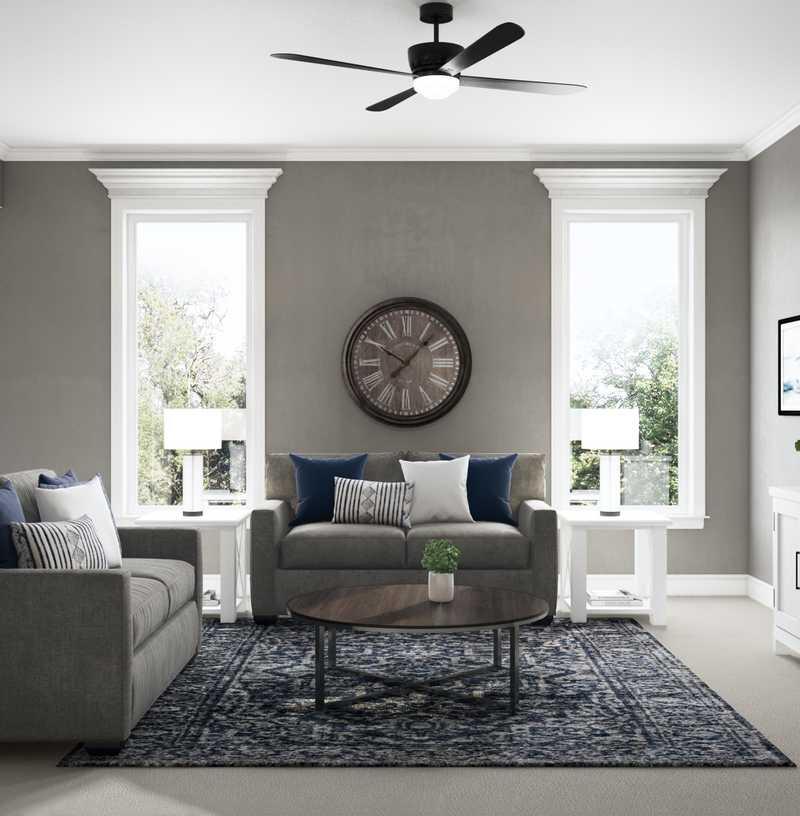 Coastal, Farmhouse Living Room Design by Havenly Interior Designer Rachel