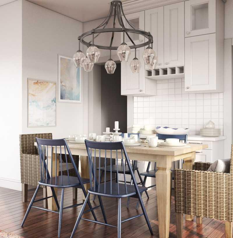 Bohemian, Coastal Dining Room Design by Havenly Interior Designer Anna