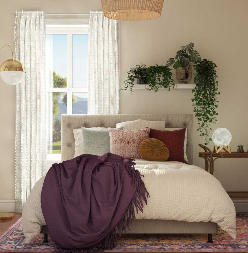Bohemian, Midcentury Modern Bedroom Design by Havenly Interior Designer Legacy