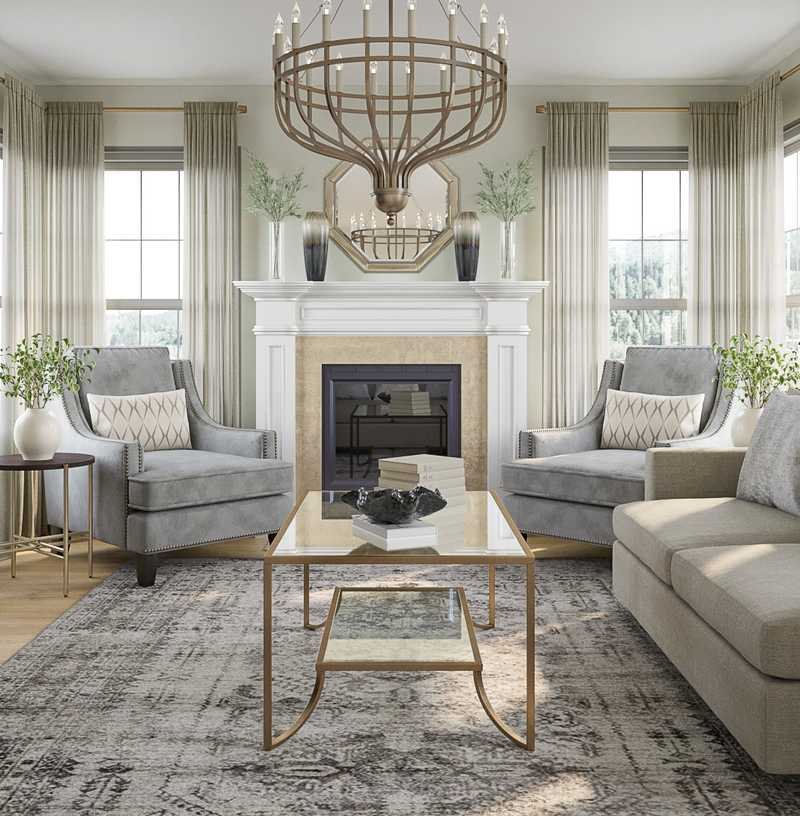 Glam, Traditional Living Room Design by Havenly Interior Designer Madeline