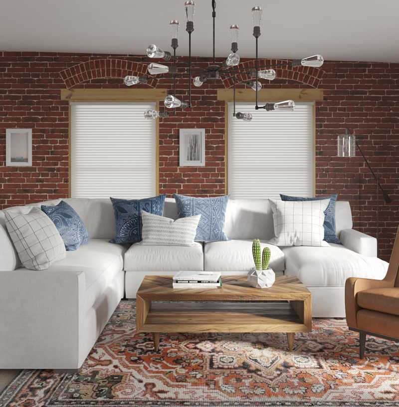 Contemporary, Modern, Eclectic, Bohemian, Rustic, Global Living Room Design by Havenly Interior Designer Sarah