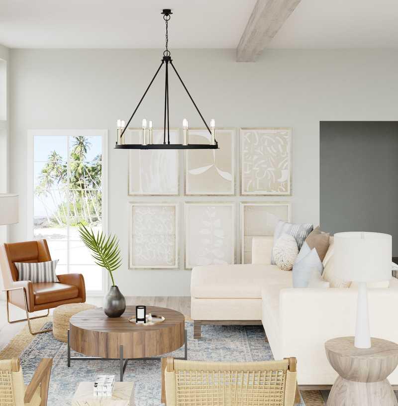 Classic, Coastal, Farmhouse Living Room Design by Havenly Interior Designer Kelly