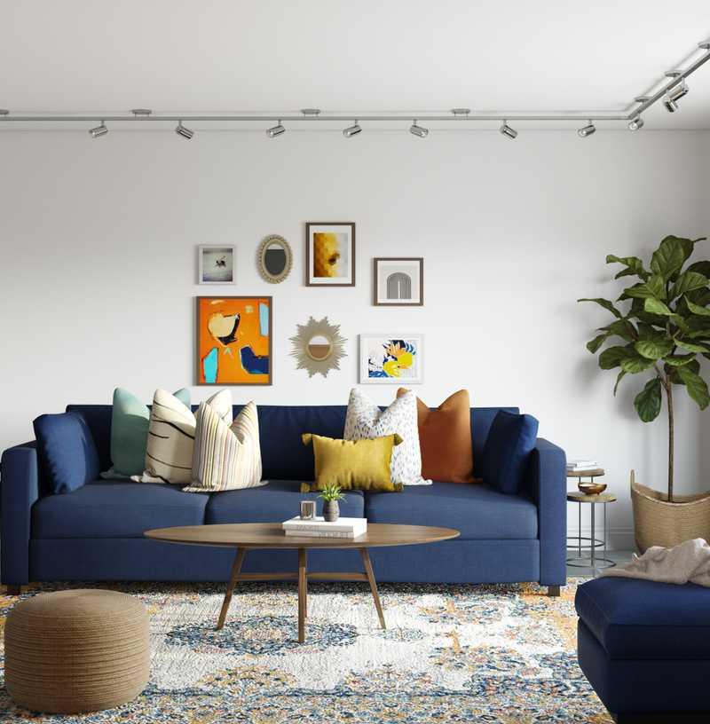 Eclectic, Bohemian, Glam, Midcentury Modern Living Room Design by Havenly Interior Designer Dani