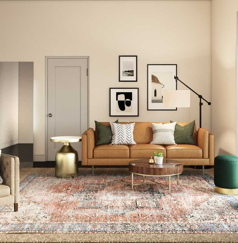 Contemporary, Bohemian Living Room Design by Havenly Interior Designer Lydia