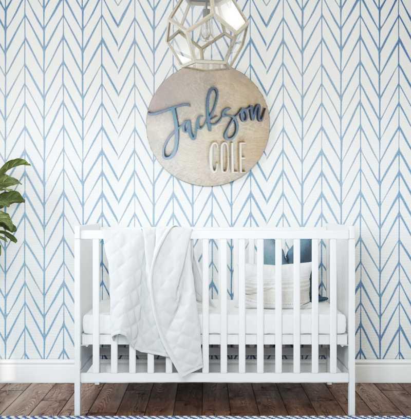 Contemporary, Coastal, Farmhouse, Transitional Nursery Design by Havenly Interior Designer Lyndsi