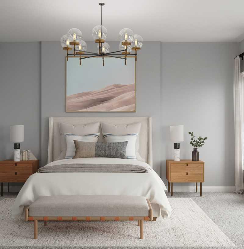 Bohemian, Midcentury Modern Bedroom Design by Havenly Interior Designer Ella