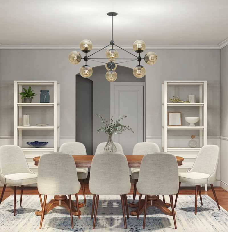 Contemporary, Classic, Bohemian, Midcentury Modern Dining Room Design by Havenly Interior Designer Amanda