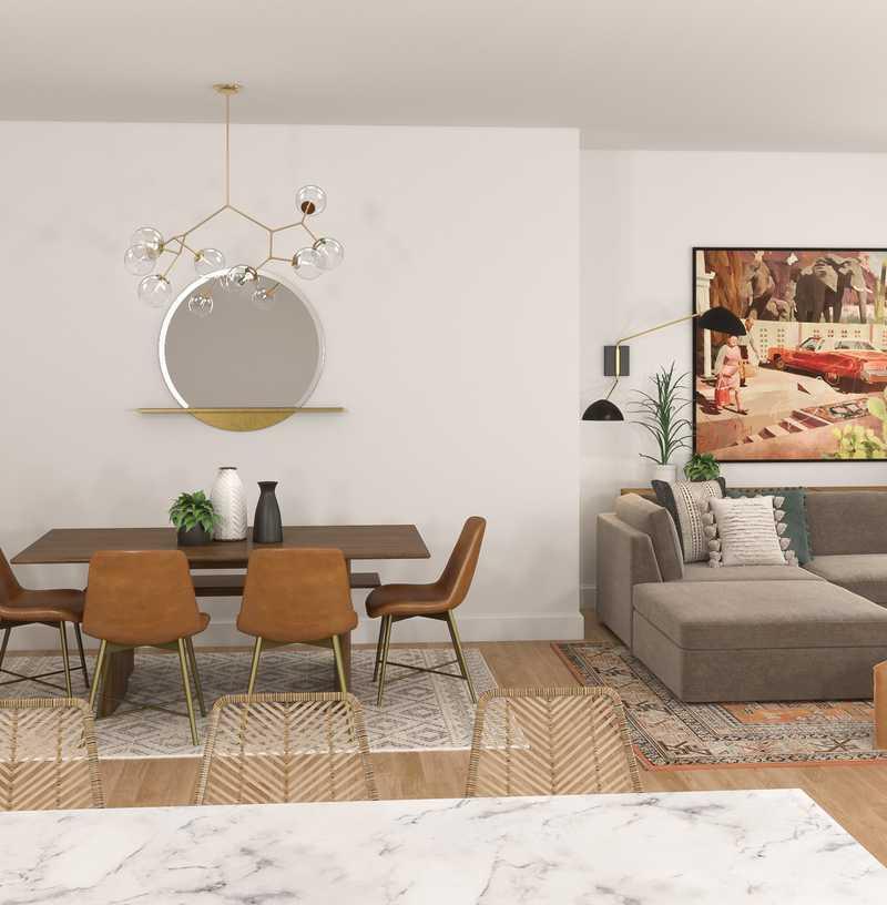 Bohemian, Midcentury Modern Dining Room Design by Havenly Interior Designer Kaity