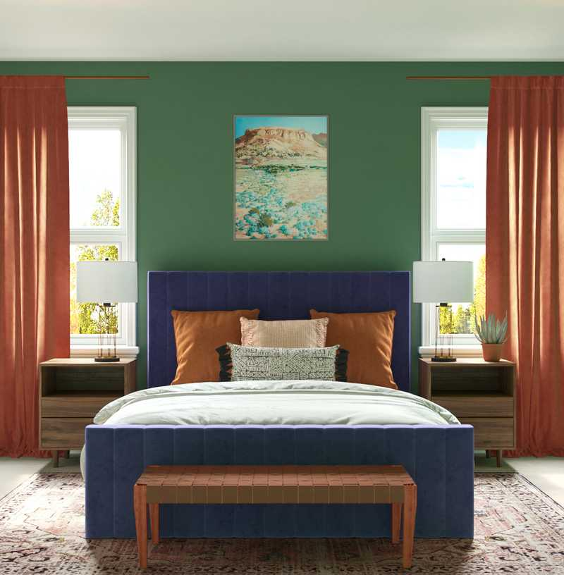 Eclectic, Bohemian, Midcentury Modern Bedroom Design by Havenly Interior Designer Bethany