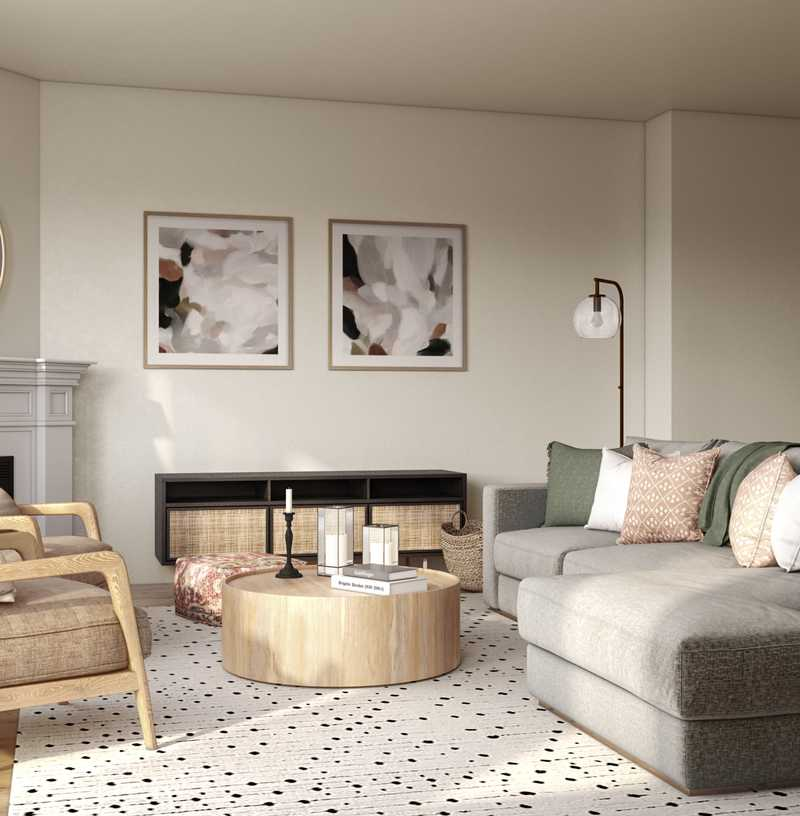 Modern, Bohemian, Traditional, Farmhouse, Rustic, Transitional, Southwest Inspired Living Room Design by Havenly Interior Designer Elle