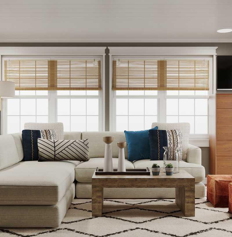 Modern, Bohemian, Coastal, Farmhouse Living Room Design by Havenly Interior Designer Susan