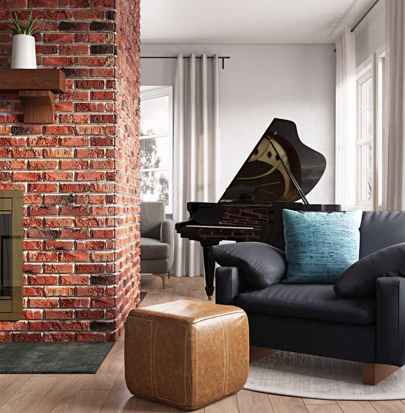 Bohemian, Midcentury Modern Living Room Design by Havenly Interior Designer Cherise