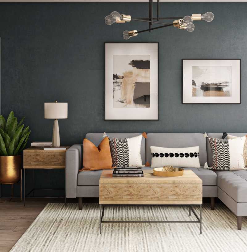 Contemporary, Glam, Midcentury Modern Living Room Design by Havenly Interior Designer Laura