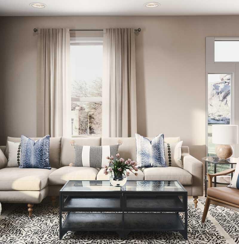 Modern, Coastal, Industrial Living Room Design by Havenly Interior Designer Dani