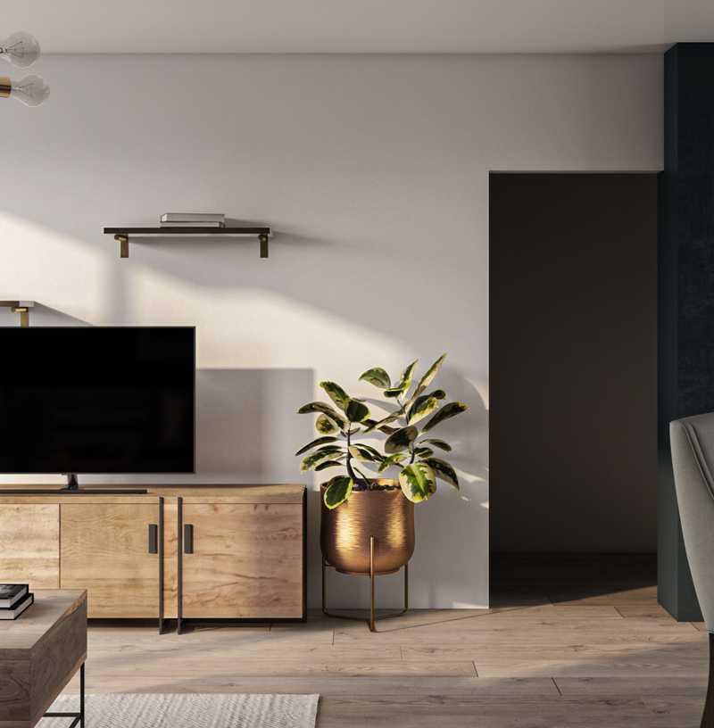 Contemporary, Glam, Midcentury Modern Living Room Design by Havenly Interior Designer Laura