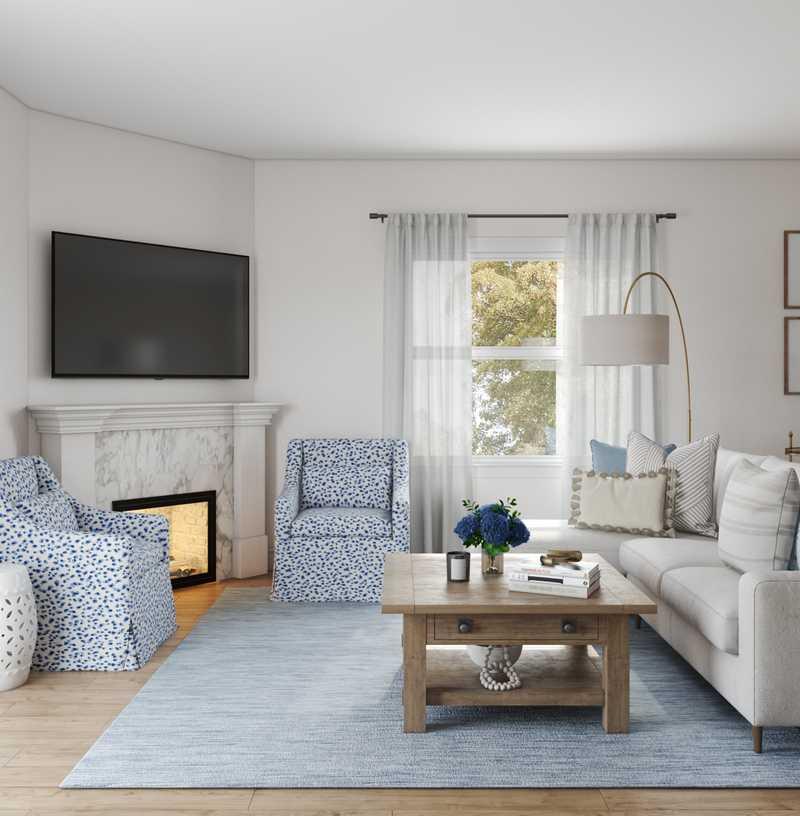 Classic, Coastal, Transitional, Preppy Living Room Design by Havenly Interior Designer Lisa
