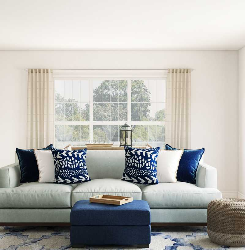 Modern, Coastal, Farmhouse Living Room Design by Havenly Interior Designer Laura