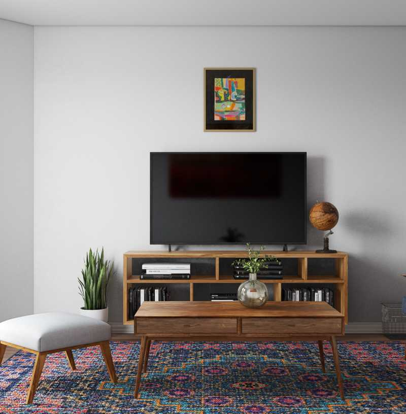 Contemporary, Bohemian, Vintage, Midcentury Modern Living Room Design by Havenly Interior Designer Logan