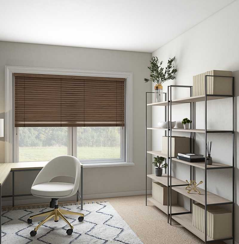 Classic, Bohemian, Midcentury Modern Office Design by Havenly Interior Designer Madeline