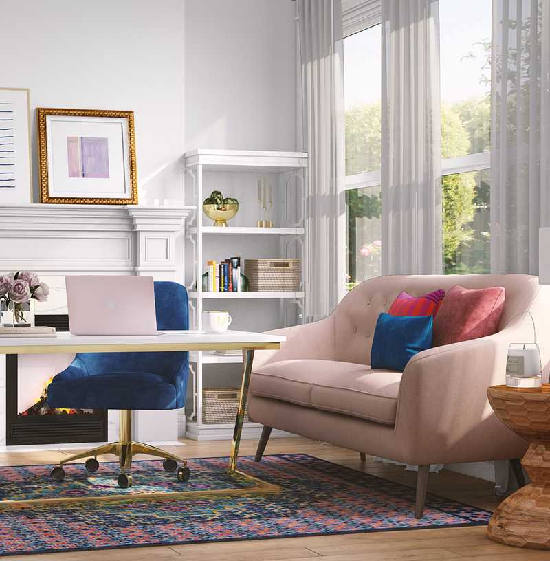 Bohemian, Preppy Office Design by Havenly Interior Designer Lilly