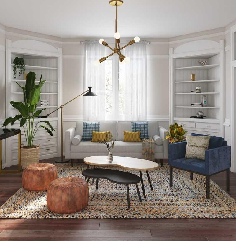 Midcentury Modern Living Room Design by Havenly Interior Designer Weiran