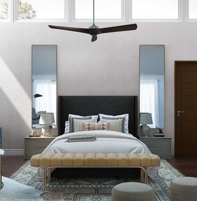 Bohemian, Glam, Midcentury Modern Bedroom Design by Havenly Interior Designer Maria